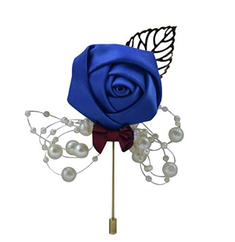 HE ANDI Groom Rose Boutonniere Corsage for Men, Lapel Pin Brooch for Wedding Flowers Party Decoration(1PC) (Navy Blue)