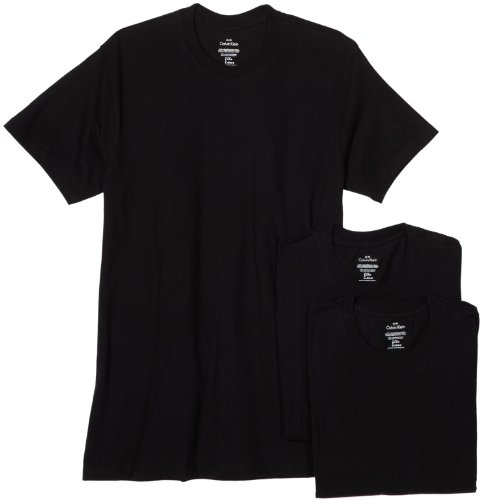 Calvin Klein Men's 3-Pack Classic Crew Neck T-Shirt, Black, Large