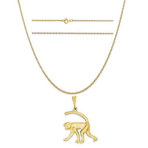 14k Yellow Gold Monkey Charm on a 14K Yellow Gold Carded Rope Chain Necklace, 16