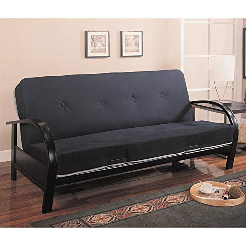 BOWERY HILL Contemporary Metal Futon Frame in Glossy Black by BOWERY HILL