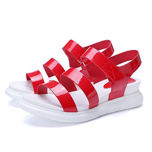 AllhqFashion Mujeres Velcro Plataforma Pu Sólido Puntera Abierta Sandalia Rojo