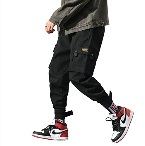 - Men's Fashion Cargo Pants Casual Hip Hop Drawstring Ankle Pants Ankle Length Relaxed Fit (1, L)