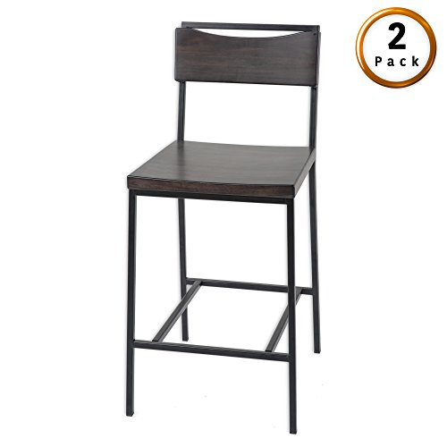 Columbus Metal Counter Stool with Black Cherry Wooden Seat and Matte Black Frame Finish, 2-Pack, 26-Inch (Cherry Wide Bar Stool)