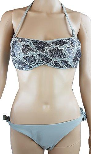 Bikini Neckholder / Pailletten ,Häkel und Bestickungen / Gr. 34 XS / grau - anthrazit