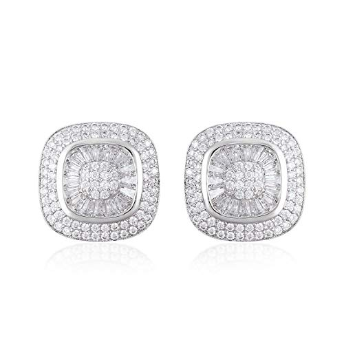 Cluster Earrings Baguette White Cubic Zirconia CZ Silvertone Gift Jewelry for Women Ct - Stone Cubic Baguette Earring Zirconia
