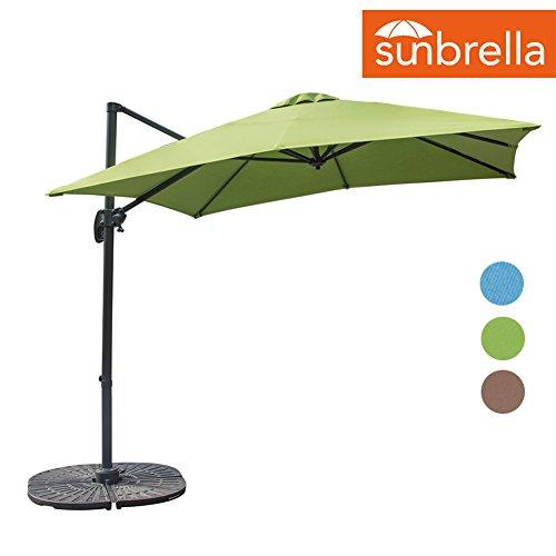 Sundale Outdoor 8.2ft Square Sunbrella Fabric Offset Hanging Umbrella Market Patio Umbrella Aluminum Cantilever Pole with Crank Lift, Corss Frame, 360°Rotation, for Garden, Deck, Backyard (Macaw)