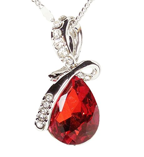 Necklace - Deep Red Eternal Love Teardrop Crystal Pendant Necklace - Kiki's Deep Red by kikisjewels (Image #4)