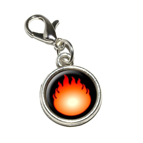 Graphics and More Fire Fireball Antiqued Bracelet Pendant Zipper Pull (Fireball Pendant)