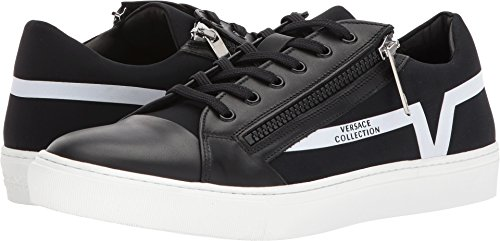Versace Collection Men's Zippered Low Top Black/Black/White 42 M - Versace Top Mens
