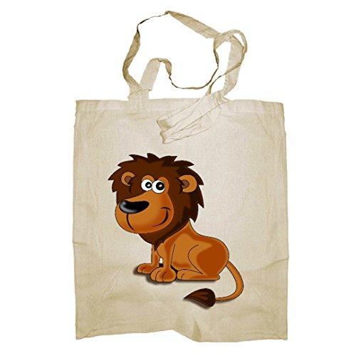 My Custom Style® Shopper in cotone naturale di colore beige modello Animali_Leone 002manici corti da 35cm; formato borsa 38x42cm. La seconda foto si riferisce al modello di borsa scelto, limmagine