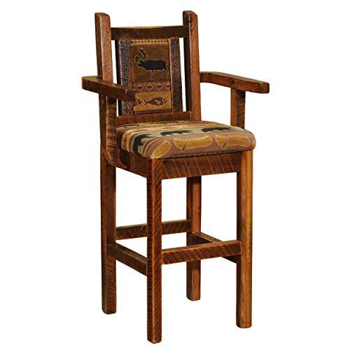 Fireside Lodge Barnwood Artisan Upholstered Barstool with Back and Arms - 30
