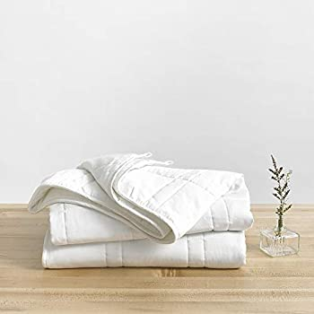 Image of Baloo Weighted Blanket for Adults, 15 lbs 60x80 inches, Fits Queen Size Bed TOP, Eco-Friendly Luxury, Chemical-Free, Soft Cool Cotton in Pebble White Color, Lead-Free Glass Beads, Double Quilted Baloo B07N442PLC Weighted Blankets