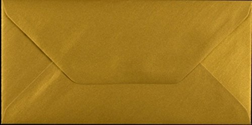 DL Gold Envelopes 110mm x 220mm Pack of 10 by Cranberry