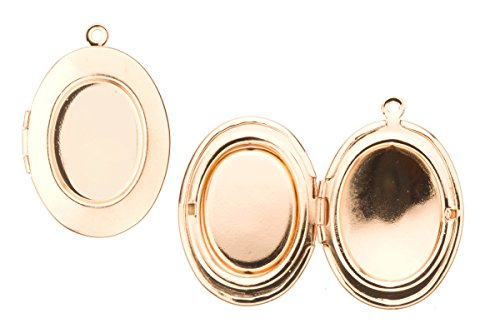 Plain Oval Locket Pendant Gold Finished Fits Three 15x20mm Photos 33x23mm Sold Per Pack For 2 (Three Photo Locket)