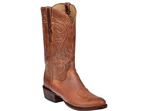 Lucchese HL1504.63 Burleson Mens Tan Burnished Goat Leather Cowboy Western Boots Burnished Mad Dog Goat
