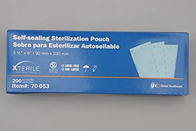 "Xterile Self-Sealing Sterilization Pouch 3.5"" x 9"", 200 Pouches/Box"