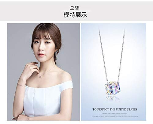 Davitu S925 Sterling Silver Jewelry Elegant Women Fashion AB Aurora Borealis Austria Crystal Necklaces Bridal Wedding Gifts for Her