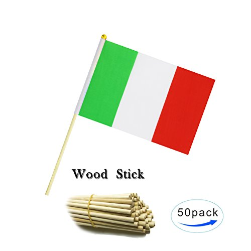 - Kind Girl Wood Hand Held Italy Flag Italian Flag Stick Flag Small Mini Flag 50 Pack Round Top National Country Flags,Party Decorations Supplies For Parades,World Cup,Sports Events,Celebration