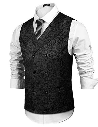 Silk Vest Print (COOFANDY Men's Paisley Suit Vest Slim Fit Double Breasted Floral Retro Victorian Silk Tuxedo Dress Waistcoat)