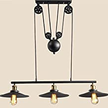 WinSoon Large Size Black Iron Painted Creative Pulley Style 3-Lights Vintage Pendant Lighting for Kitchen Island Bar 3 Heads