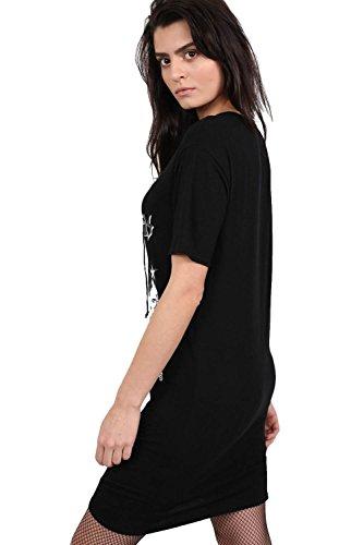 PILOT® ata para arriba camiseta de la impresión mini vestido lema delante negro