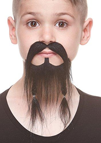 Braided Beard Costume (Small Braided Pirate black fake beard and mustache, self adhesive)
