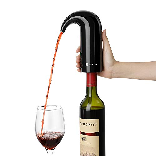 (zanmini Electric Wine Aerator, Portable Wine Decanter Pump and Dispenser for Red and White Wine, Triple Functions to Aerate Wine, Instant One Touch Operation, USB Rechargeable Battery)
