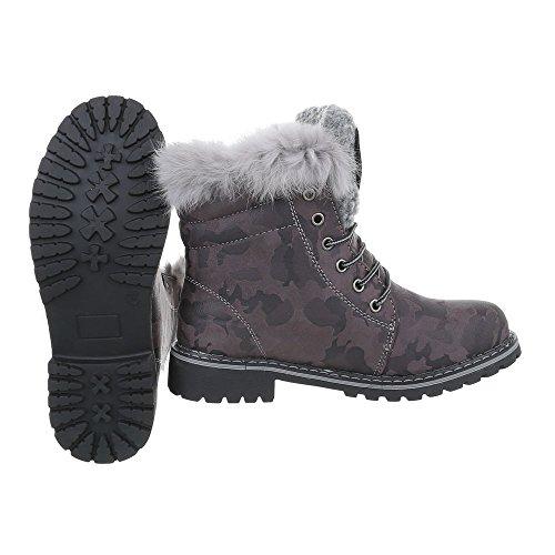 Ital-Design Schnürstiefeletten Damenschuhe Combat Boots Blockabsatz Warm Gefütterte Schnürsenkel Stiefeletten Grau Multi H943