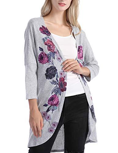 Floral Print Tops Open Shirt Style Kimono Cardigan Gray XL