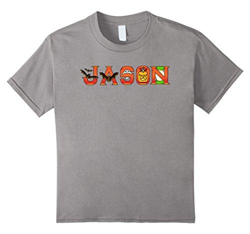 [Kids Jason Halloween Name Bat Pumpkin Costume T-shirt Tee Gift 12 Slate] (Youth Jason Costume)