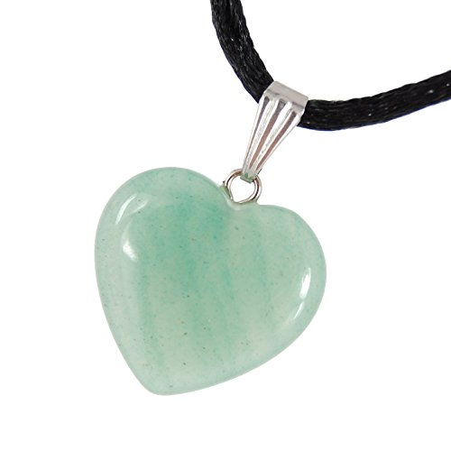 Steampunkers USA Big Heart Collection - 20mm Classic Aventurine Green - 20-22 inch Black Cord - Crystal Gemstone Carved Necklace Charm Handmade