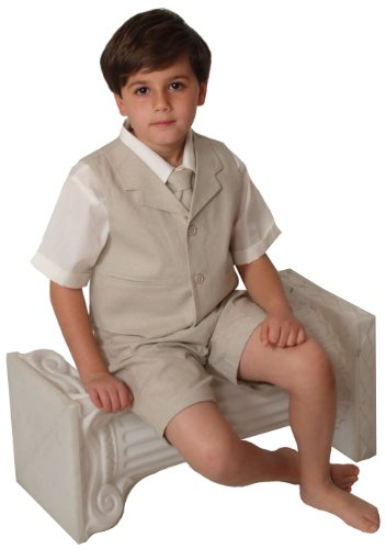 G266 SHORT SET Cotton/linen Blend Summer Suit Baby/Toddler (X-Large/18-24 Months, Natural)