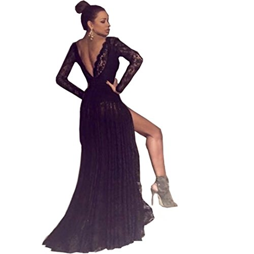 Chady Sexy Black Lace V Neck Long Prom Dresses 2017 Cheap Backless Long Sleeves Evening Dress For Party Gowns by Chady