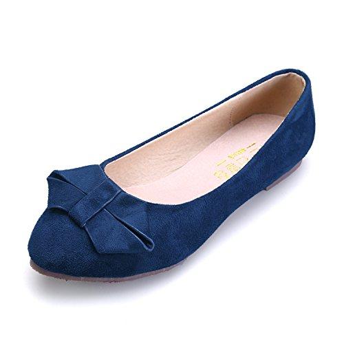 Smilun Women's Ballerina Flat Classic Bowknot Ballet Flats Dark Blue