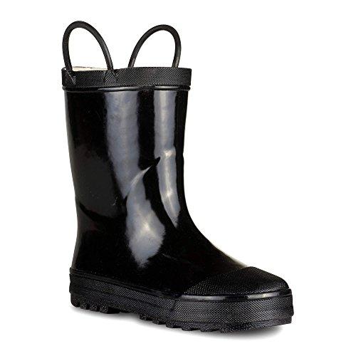 Chillipop [SBR001P-BLACK-T5] Boys Rain Boots - Black Toddler Boot Easy On Handle Size 5