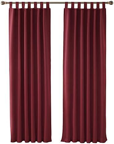 Deconovo Tende Oscuranti Termiche Isolanti con Passanti Tende per finestre per Casa Moderne 140×175 CM Rosso Scuro 2 Pannelli