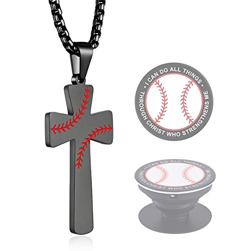 XIEXIELA Baseball Cross Pendant, I CAN DO All Things Strength Bible Verse Stainless Steel Cross Necklace for Men Boys Softball Lover Black