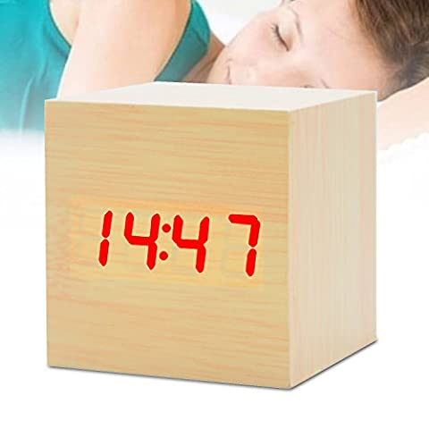 EURDIA Alarm Clock Wooden LED Digital Time Date Temperature Display Electronic Desktop Home Travel Bedroom Cube Clock with Sound Control Function (Bamboo Red (Rhythm Digital Clock)
