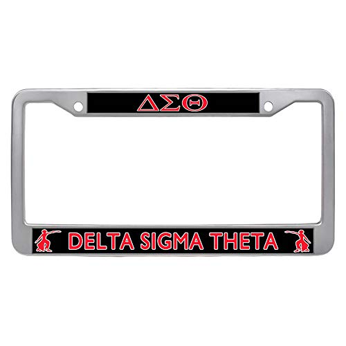 (Sorority Delta Sigma Theta License Plate Frame Stainless Steel Car Tag Holder)