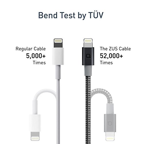 Nonda ZUS Apple MFi Certified Super Duty Lightning Cable With Carbon Fiber Charger And Data Sync For IPhone IPad IPod Black