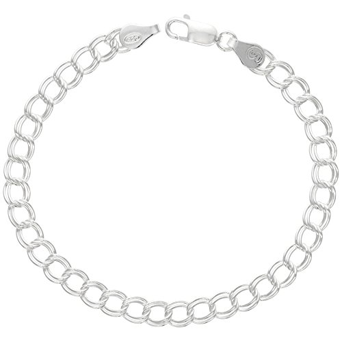 - Sterling Silver Anklet Double Curb Charm Link 5.3mm Nickel Free Italy, 9.5 inch