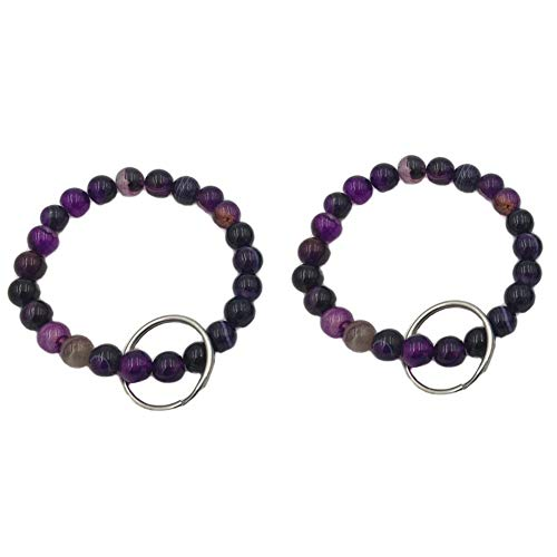 Bracelet Keychain Beaded Wrist Keyring Elastic Natural Stone Wristband Key Chain for Office Shopping Outdoor Pack of 2 Purple ()