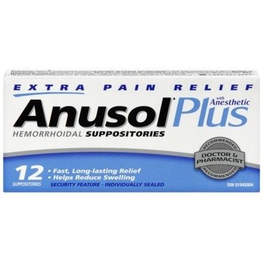 ANUSOL PLUS 12 Hemorrhoidal SUPPOSITORIES with anesthetic