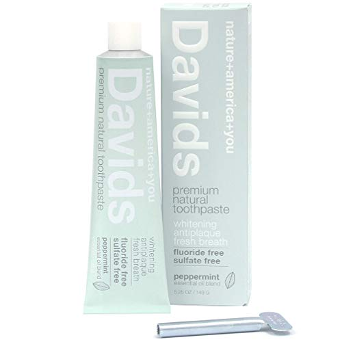 Davids Natural Toothpaste, Whitening, Antiplaque, Fluoride Free, SLS Free, Peppermint, 5.25 OZ Metal Tube, Tube Roller Included (Best Natural Toothpaste)