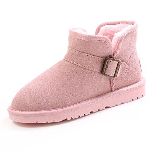 Heart&M 2016 inverno corto tubo lato Velcro coppie neve Candy Color pelle bovina spessore cotone stivaletti