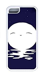iPhone 5C Case, Bright Moon Night Hot Sale Personalized Slim Protective Soft Rubber TPU White Edge Case Cover for Apple iPhone 5C