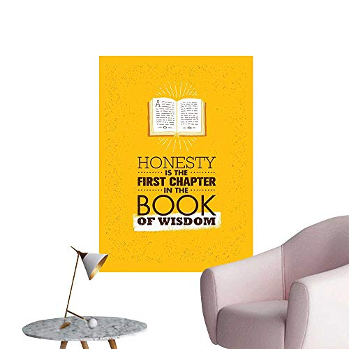Book Wall Mural Wallpaper Stickers Book of Wisdom Inspirational Quote on Yellow Background Chapter of Honesty Mural Blackboard DIY White Earth Yellow Redwood W24 x H36