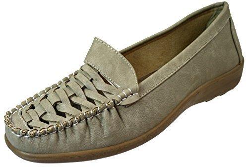 Annabelle Las Señoras Ligero Mujer Zapatillas Planas Flexible Zapatos Casual Sin Cordones Beige