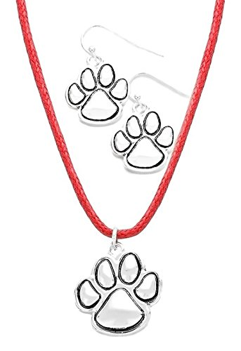 Cat Cord Earrings (Red Leather Cord Paw Necklace and Matching Silver Tone Paw Earrings)