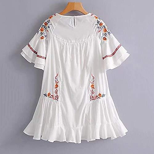 Geométrico Rodilla Vestido white Jizhi Sobre Recto l La Mujer 76aHwa